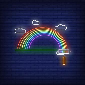 Malowany neon tęczy znak