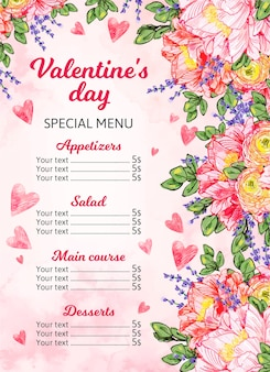 Malowany szablon menu walentynki