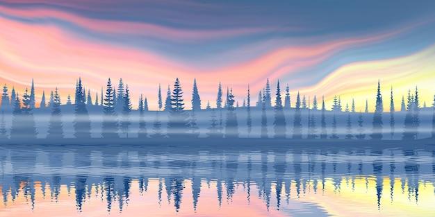 Malownicze odbicie lasu na horyzoncie i niebo zachodzącego słońca