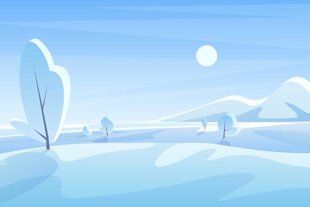 Malowniczy widok z zaśnieżonym krajobrazem pól i gór