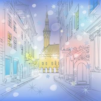 Malowniczy zimowy widok na boże narodzenie ratusz w średniowiecznym starym mieście w tallinie, estonia