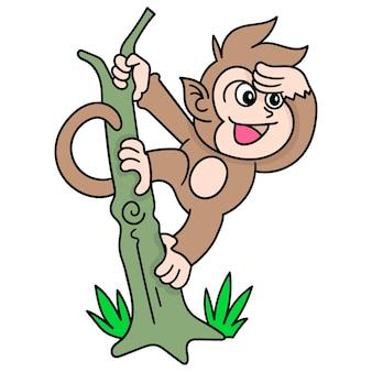 Małpa bawiąca się wisząca na drzewie, doodle rysuje kawaii. ilustracja