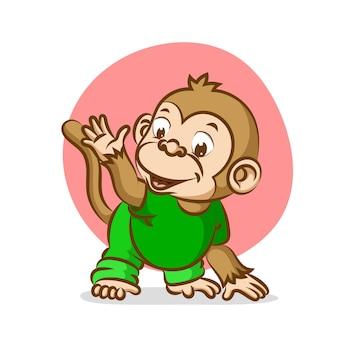 Małpa dziecko próbuje wykonywać ćwiczenia sportowe