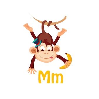 Małpa. funny alphabet, animal