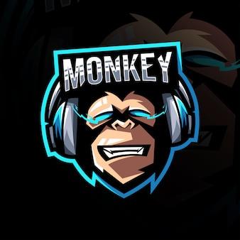 Małpa graczy maskotka logo szablon e-sport