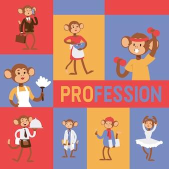 Małpa jak ludzie zawodu charakteru ilustraci.