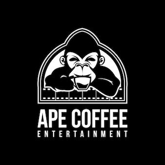 Małpa kawy logo ilustracji wektorowych
