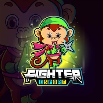 Małpa myśliwska ze skurczonym logo e-sportu na ilustracji