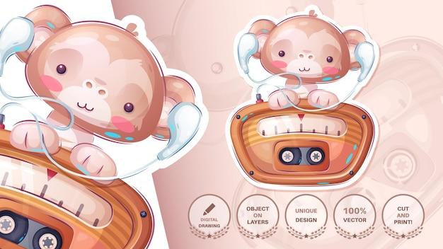 Małpa słuchać radia ładna naklejka wektor eps 10