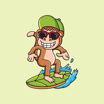 Małpa surfing kreskówka ze słodkim uśmiechem