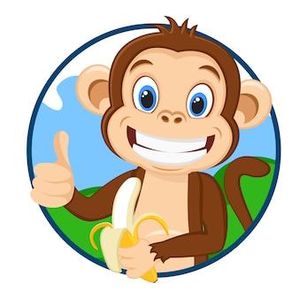 Małpa trzyma dojrzałego banana i pokazuje podobne logo na białym tle.