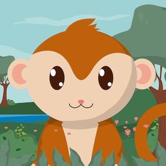 Małpa w lesie słodkie bajki zwierząt