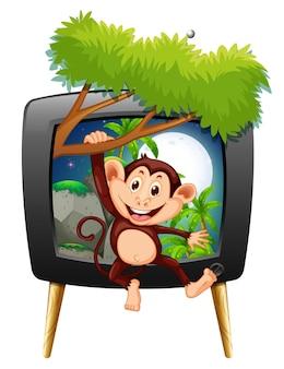 Małpa wisi na gałęzi na ekranie telewizora