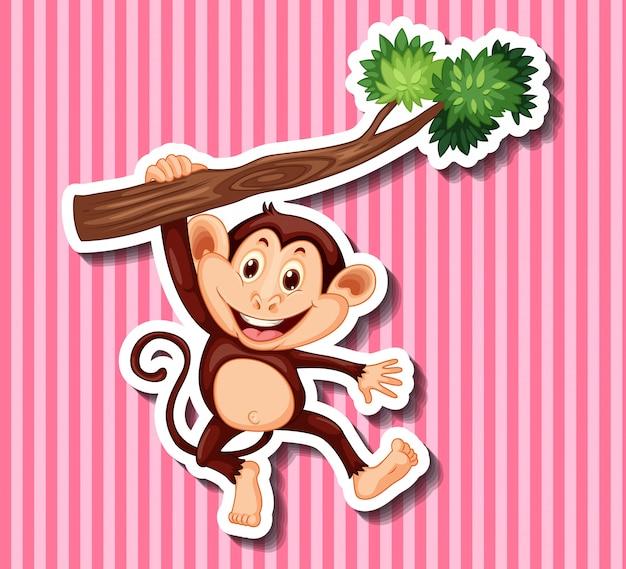 Małpa wisi na gałęzi