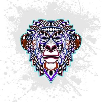 Małpa z abstrakcyjny wzór dekoracyjny
