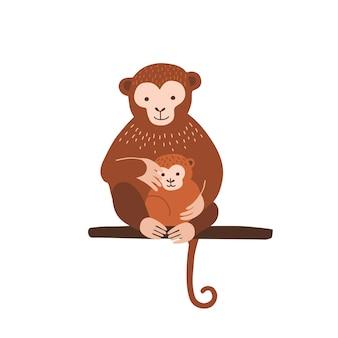 Małpa z dzieckiem siedzi na gałęzi drzewa na białym tle. rodzina dzikich egzotycznych zwierząt dżungli. rodzic z młodym, matką i dzieckiem. ilustracja wektorowa kolorowy płaski kreskówka.