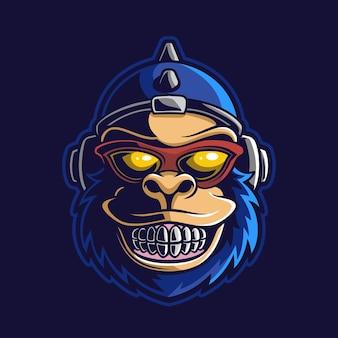 Małpa zwierzęca głowa kreskówka logo szablon ilustracja esport logo gry wektor premium