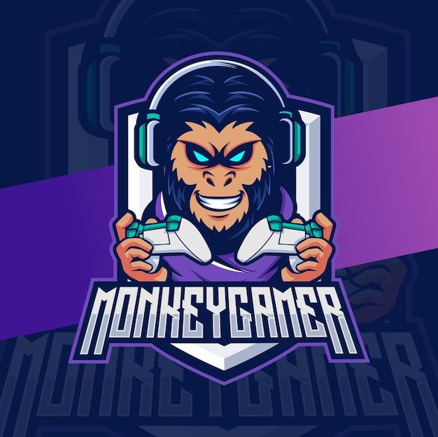 Małpi gracz z konsolą i maskotką słuchawek z logo e-sportu