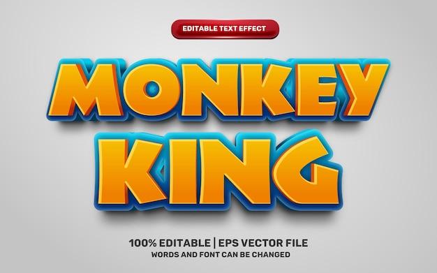 Małpi król kreskówka komiksowa gra 3d edytowalny efekt tekstowy