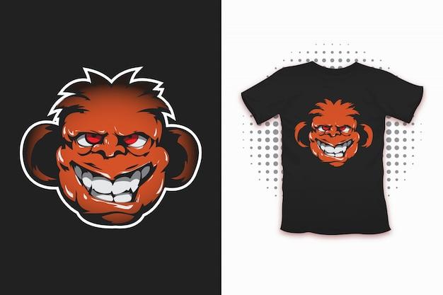 Małpi nadruk na projekt koszulki