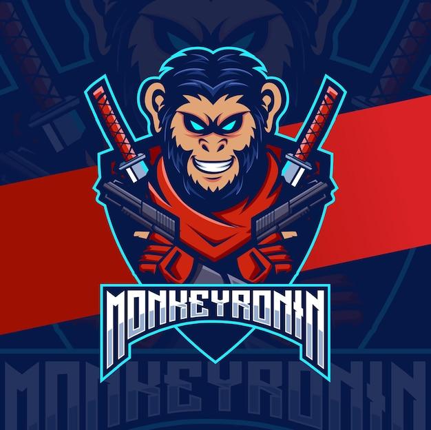 Małpi samuraj ronin z logo e-sportu maskotki pistoletu do gier i logo sportu