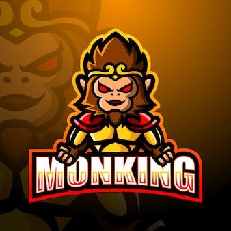 Małpia królewiątko maskotki esport logo ilustracja
