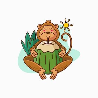 Małpia pije kokosowa kreskówki ilustracja