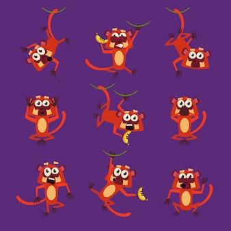 Małpy w różnych pozach, ilustracje wektorowe