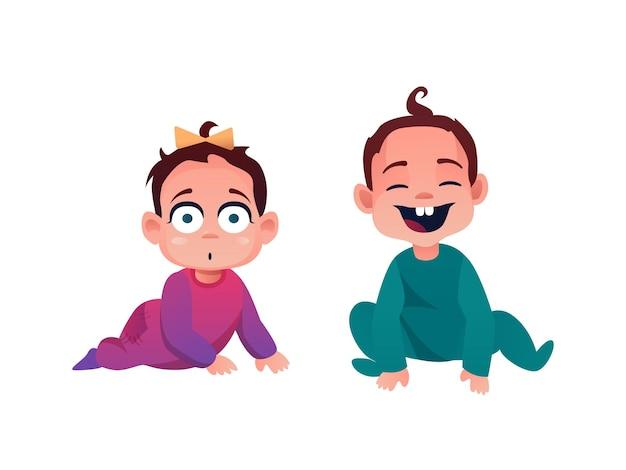 Maluch niemowlęta chłopiec i dziewczynka w śpioszkach na białym tle