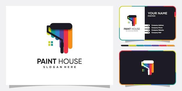 Maluj logo domu z kreatywnie wyglądającą koncepcją premium wektorów