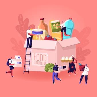 Malutcy ludzie wypełniający kartonowe pudełko na datki różnymi artykułami spożywczymi i produktami, aby pomóc biednym ludziom. płaskie ilustracja kreskówka