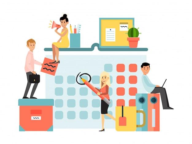Malutka charakteru biznesmena bizneswomanu planowania praca odizolowywająca na białym, ilustracja. biznesowa praca zespołowa samiec kobieta.
