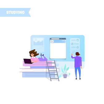 Malutka dziewczyna studiuje na laptopie