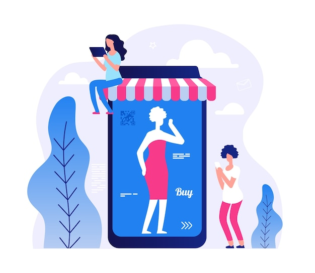 Malutka płaska kobieta ze smartfonem i tabletem