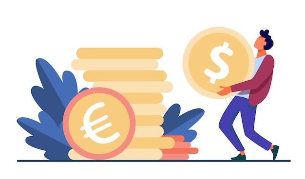 Malutki facet niosący ogromną złotą monetę. dolar, gotówka, pieniądze ilustracji wektorowych płaski. finanse i bankowość