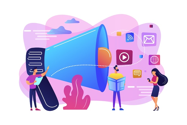 Malutki, menedżer ds. marketingu z megafonem i reklamą push. reklama push, tradycyjna strategia marketingowa, koncepcja marketingu przerywanego.