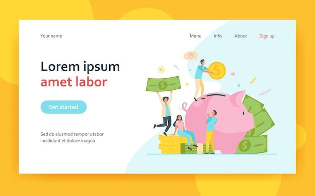 Malutkich ludzi oszczędzających pieniądze w piggy bank na białym tle. postacie z kreskówek oddające dochód i gotówkę na depozycie