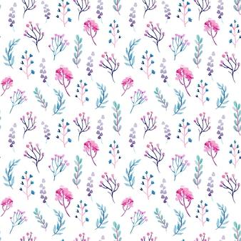 Malutkie fioletowe liście akwarela bezszwowe wzór
