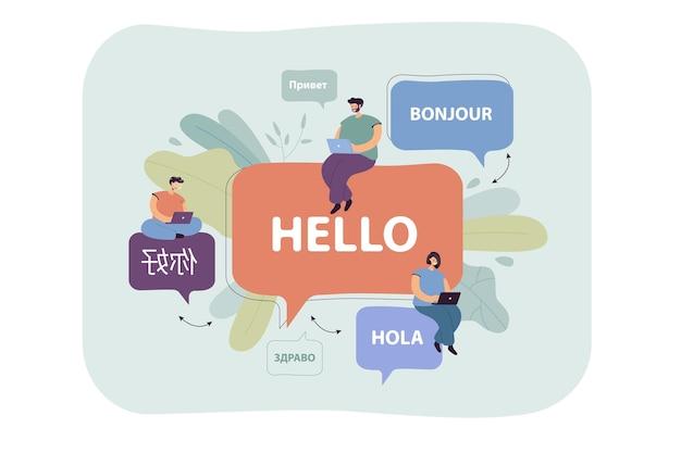 Malutkie ludzie z kreskówek prowadzący międzynarodową komunikację online. płaska ilustracja.