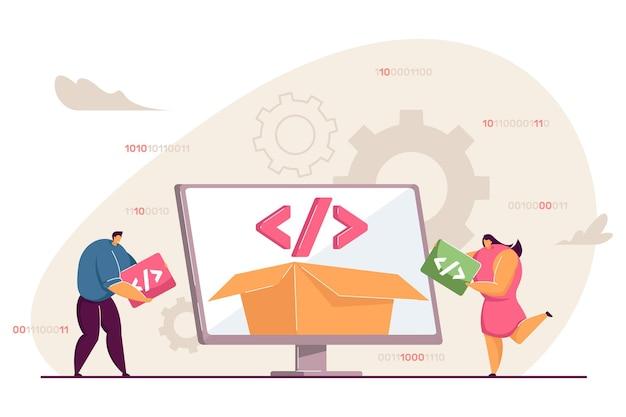 Malutkie osoby korzystające z platformy do programowania