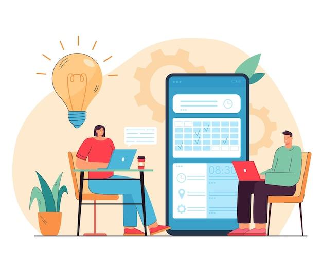 Malutkie osoby rozmawiające i wybierające datę na płaskiej ilustracji aplikacji