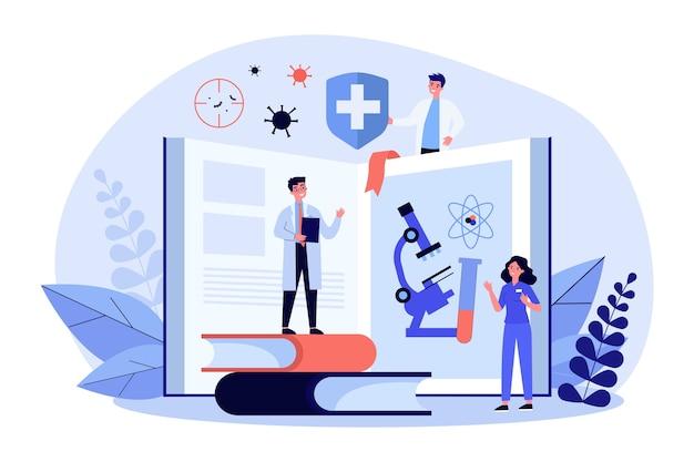 Malutkie osoby uczące się medycyny.