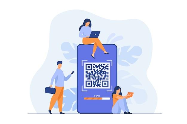 Malutkie osoby używające kodu qr do płatności online na białym tle płaskiej ilustracji.