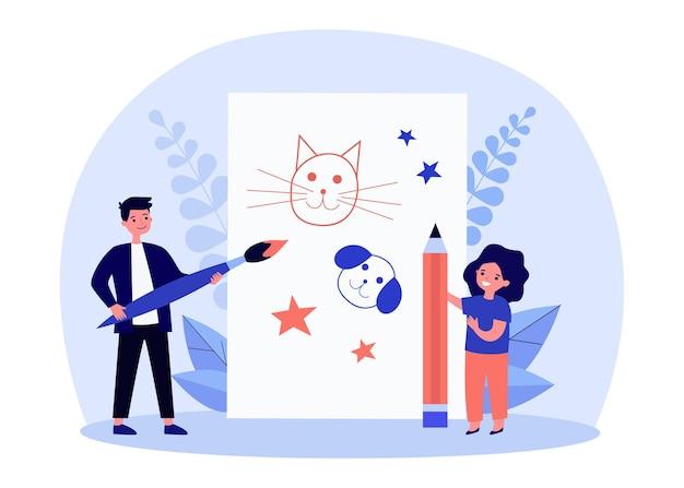Malutkie urocze dzieci malujące zwierzaki na dużym arkuszu papieru. pies, kot, ilustracja płaski ołówek. koncepcja dzieciństwa i sztuki