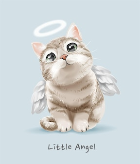 Mały anioł slogan z uroczą ilustracją anioła kota