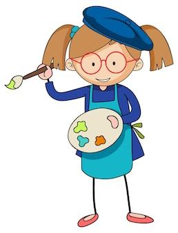 Mały artysta trzyma postać z kreskówek palety kolorów na białym tle