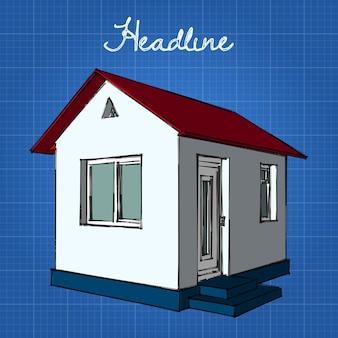 Mały biały domek z czerwonym dachem i niebieską podstawą.