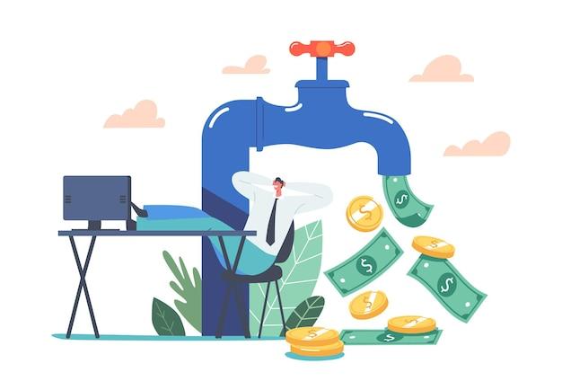 Mały biznesmen charakter siedzący z nogami na biurku w pobliżu ogromnego kranu z przepływem pieniędzy. zwrot z inwestycji, dochód pasywny, praca online i zarabianie w internecie. ilustracja wektorowa kreskówka ludzie