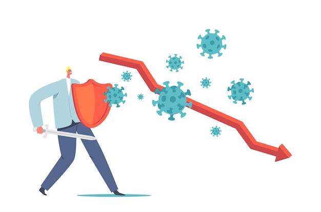Mały biznesmen postać z tarczą i mieczem walczącym z ogromnym atakiem komórek koronawirusa. kryzys finansowy, biznesmen starają się przetrwać w pandemii, koncepcja straty pieniędzy. ilustracja kreskówka wektor