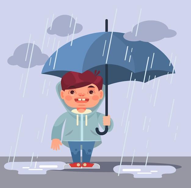 Mały charakter chłopca w deszczu